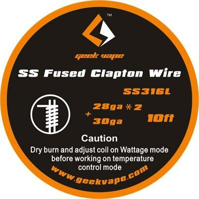 Fused Clapton SS316 (28GA*2 + 30GA) Wire 10ft by Geekvape Hardware Geek Vape