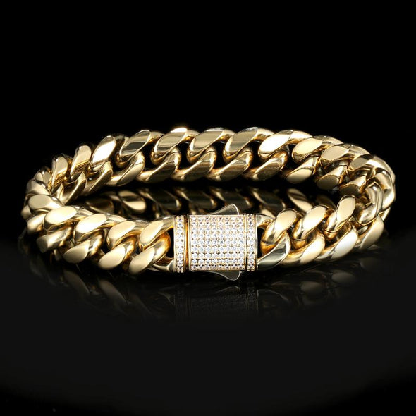 12mm Cuban Link Bracelet - Various Colours Bracelet Ross and Specter 17.5cm Gold
