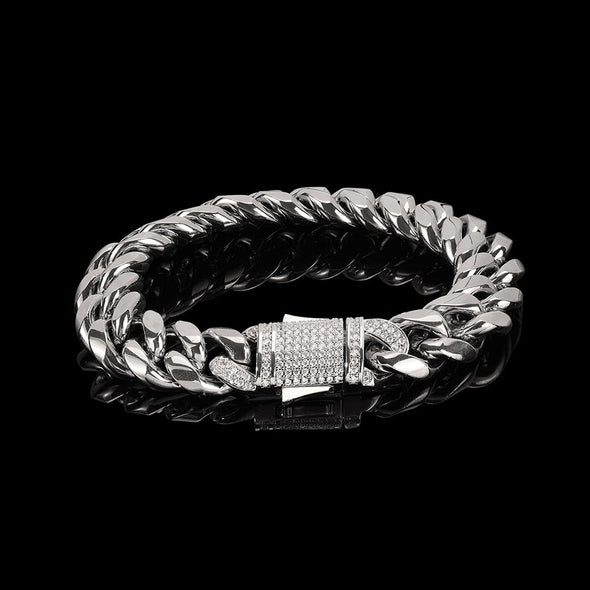 12mm Cuban Link Bracelet - Various Colours Bracelet Ross and Specter 17.5cm Silver