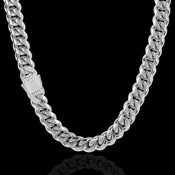12mm Cuban Link Chain - Various Colours Necklace Ross and Specter 40cm Silver
