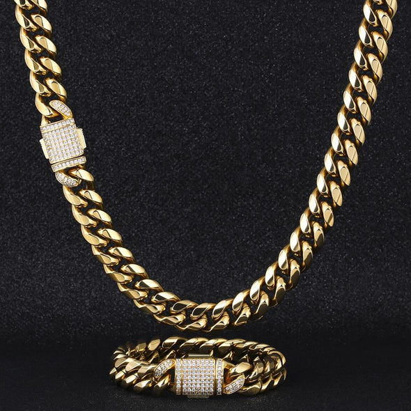 12mm Cuban Link Chain - Various Colours Necklace Ross and Specter