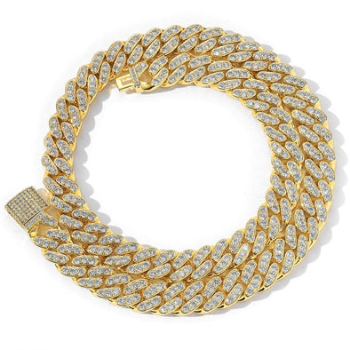 13mm Miami Cuban Link Chain (Single Row) - Various Colours Necklace Ross and Specter 40cm Gold