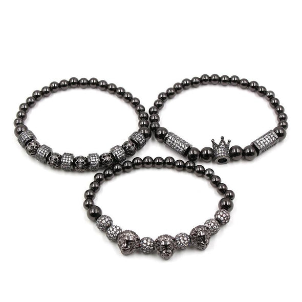 Lion Bracelet Set (3pc) - Various Colours Lion Ross and Specter 17cm Black