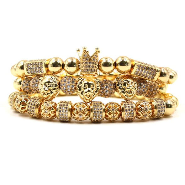 Lion Bracelet Set (3pc) - Various Colours Lion Ross and Specter 17cm Gold