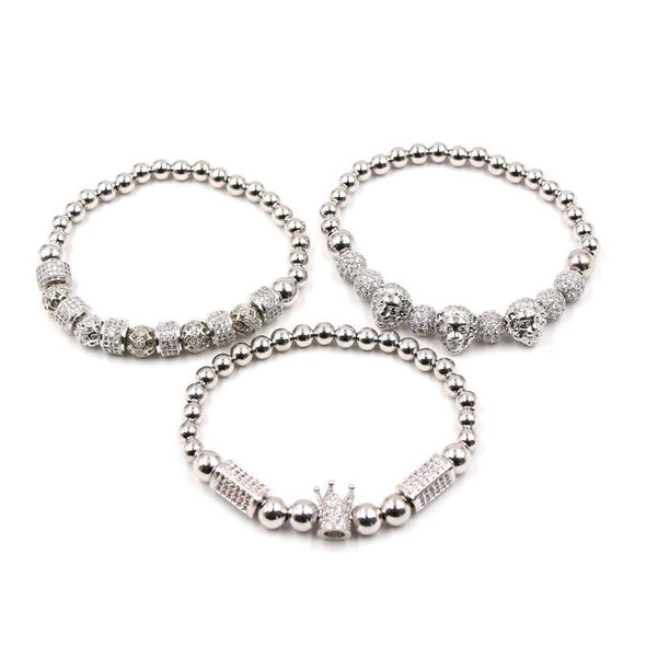 Lion Bracelet Set (3pc) - Various Colours Lion Ross and Specter 17cm Silver