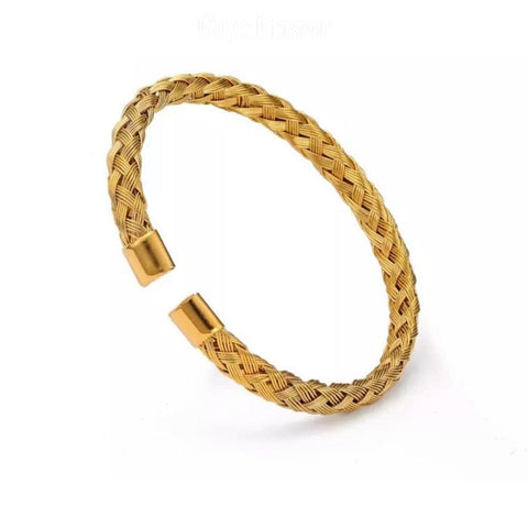 Woven Cable Bangle - Various Colours Cable Ross and Specter Gold
