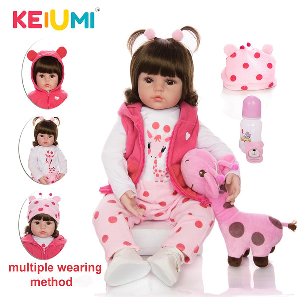 KEIUMI Baby Reborn Real Menina Soft Silicone Reborn Baby Dolls Birthday Gifts Fashion Stuffed Doll Toys With Giraffe Playmate