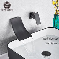 Waterfall Spout Basin Faucet Single Lever Chrome Bathroom Washing Basin Mixer Tap Dual Hole Widespread Lavatory Sink Mixer Crane