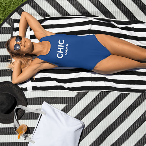 CHIC MAMA Blue One-Piece Swimsuit