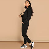Black Casual Leisure Solid Pearl Beading Detail Hoodie Sweatshirt And Carrot Pants Set