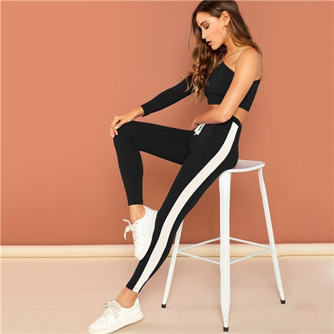 Black One Shoulder Striped Crop Top and Drawstring Waist Pants Set