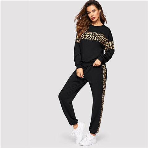 Black Leopard Panel Pullover  Sweatshirt and Sweatpants Set