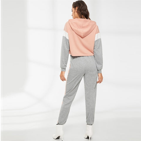 Multicolor Cut and Sew Hoodie and Elastic Waist Sweatpants Set