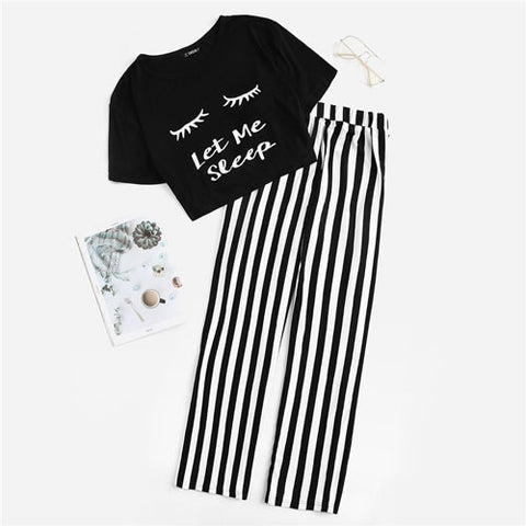 Lady Sweet Black and White Casual Graphic Crop Tee And Striped Pants Set