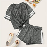 SHEIN Grey Knot Front Marled Side Striped Tshirt Top And Shorts Set Women 2019 Summer Short Sleeve Round Neck Casual Twopiece