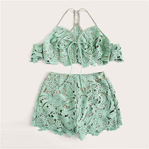 Green Guipure Lace Lace Up Crop Top And Shorts Set