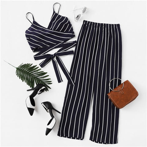 Navy Spaghetti Strap Striped Cami Top With Pants