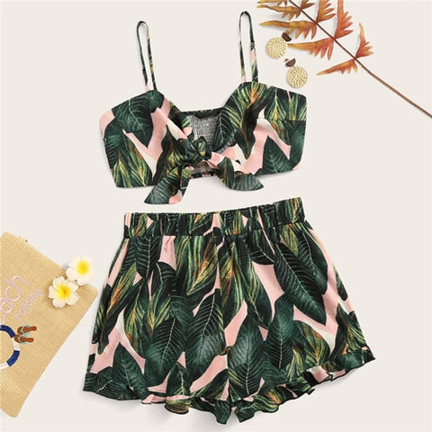Jungle Knotted Shirred Cami And Flounce Hem Shorts