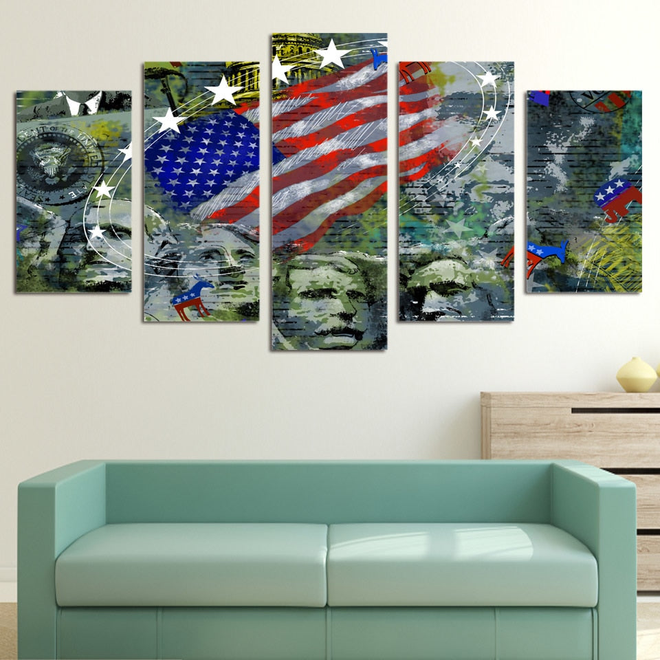 d24450612789 Painting Wall Art Children S Room Decoration USA Flag Mount Rushmore s Pcs  Canvas HD Print