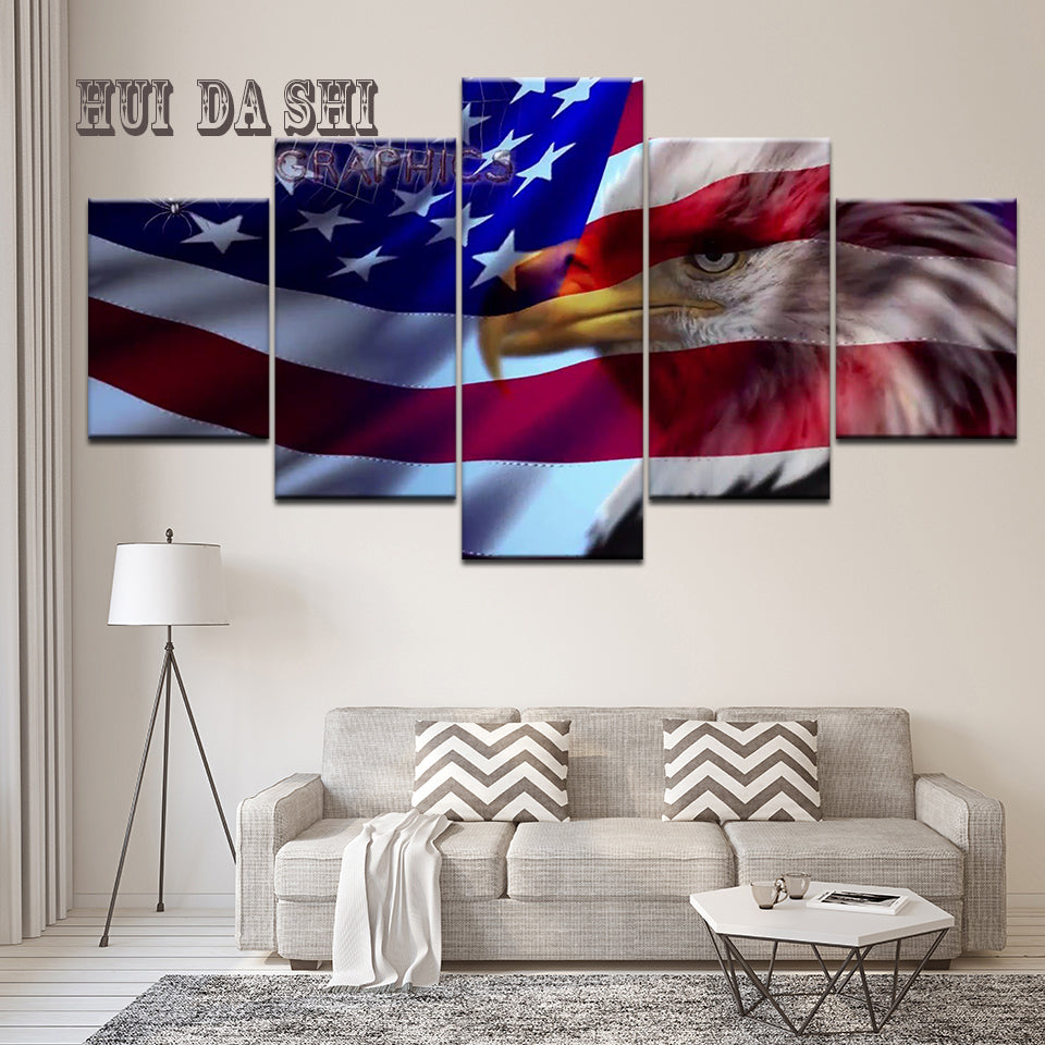 629f4b551148 Modular Canvas Art Eagle Flag USA Printed Wall Art Home Decor Canvas  Painting Picture Poster and