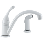 Delta Collins 441-WH-DST Single Handle Kitchen Faucet with Spray White