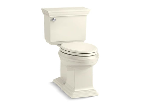 Kohler 6669-96 Memoirs Stately Comfort Height two-piece elongated 1.28 gpf toilet with AquaPiston flushing technology, left-hand trip lever and concealed trapway, seat not included