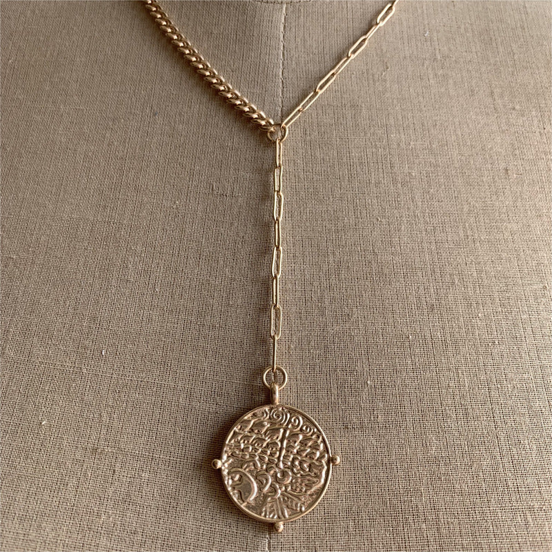 Y Coin Necklace - Gold