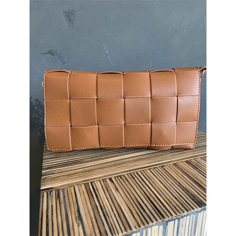 Wide Weave Clutch - Brown