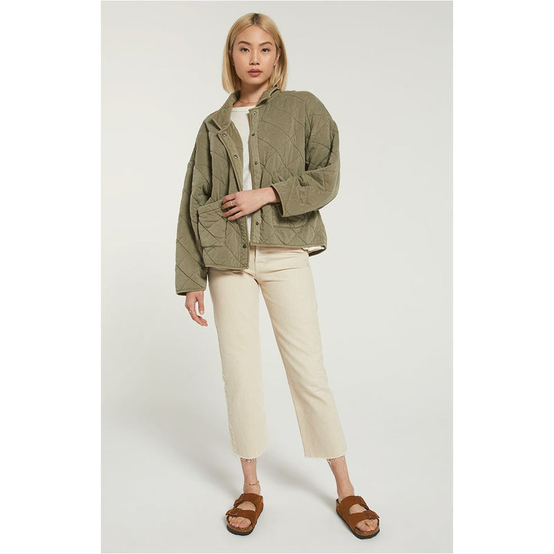 Maya Quilted Jacket - Washed Olive or Bone