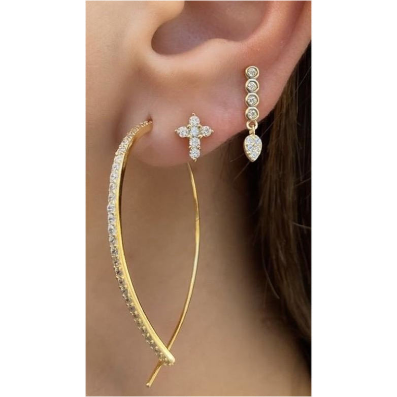 Wire Threader Gold Earring