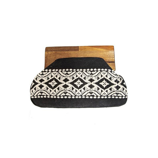 Wooden Frame Embroidered Clutch