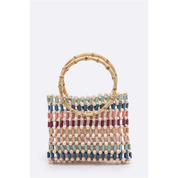 Wooden Bead Bamboo Handle Bag