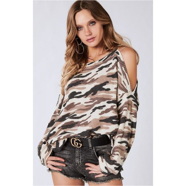 Waffle Cold Shoulder Camo Top