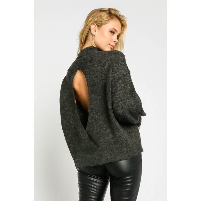 Soft Tunic Sweater with Open Back