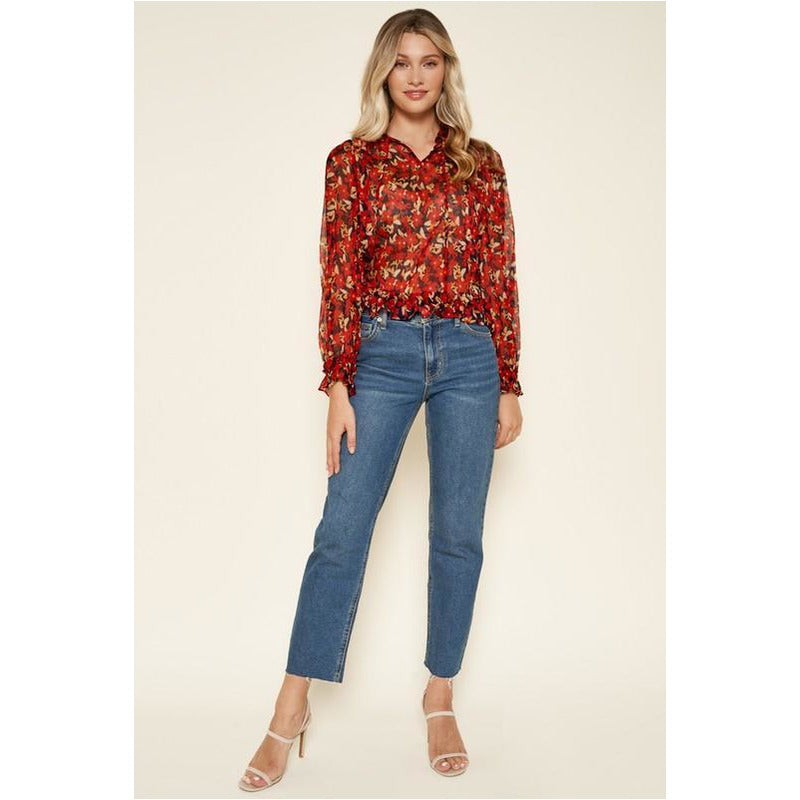 Vermillion Floral Blouse