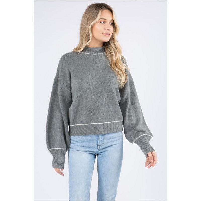 Mock Sweater -Charcoal/Ivory