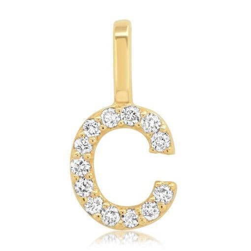 14k Gold Initial Pendant with Diamonds