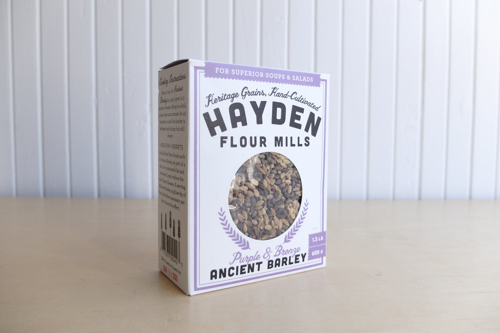 Hayden Flour Mills Ancient Barley, purple and bronze