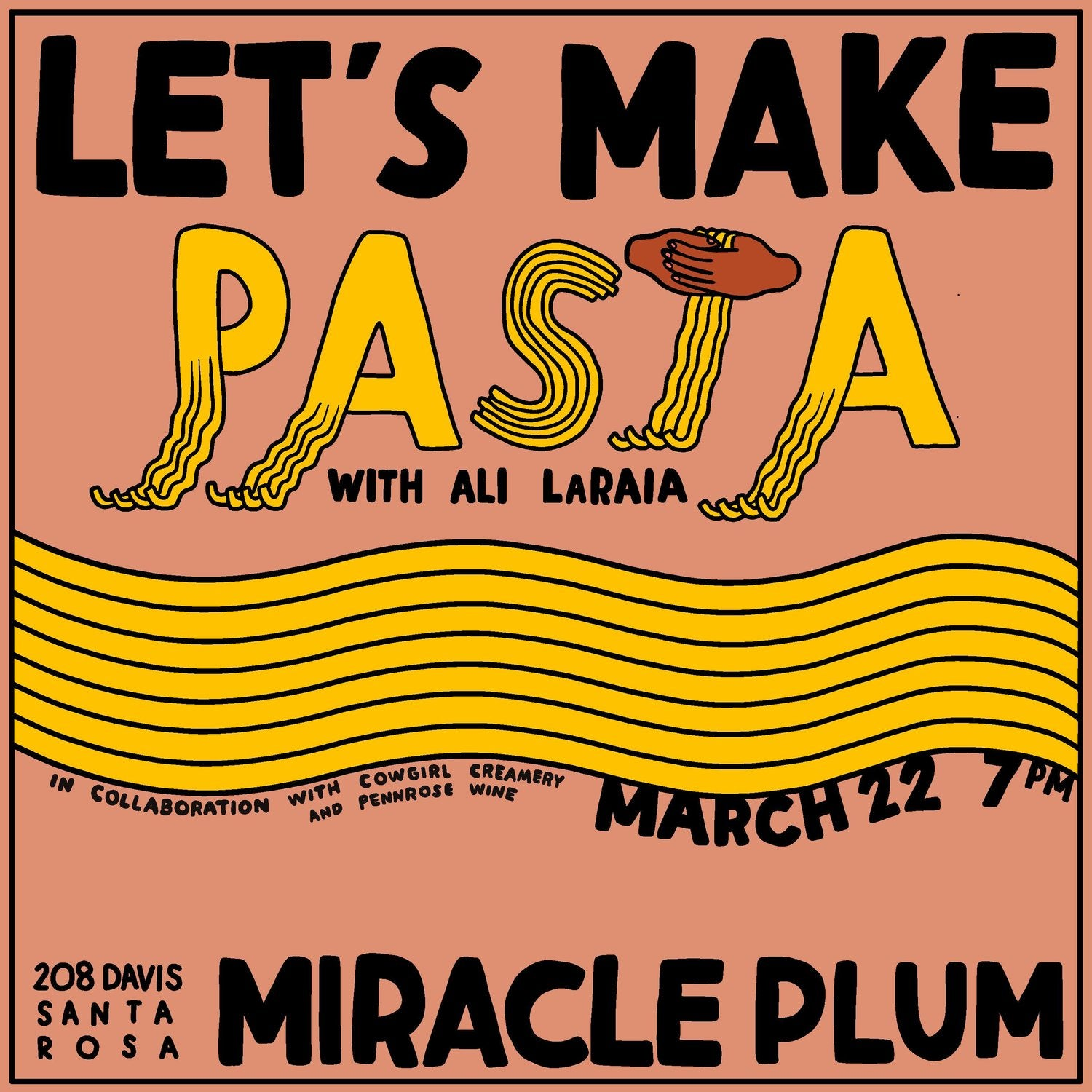 3/22/2019 7:00PM-9:00PM | LET'S MAKE PASTA!