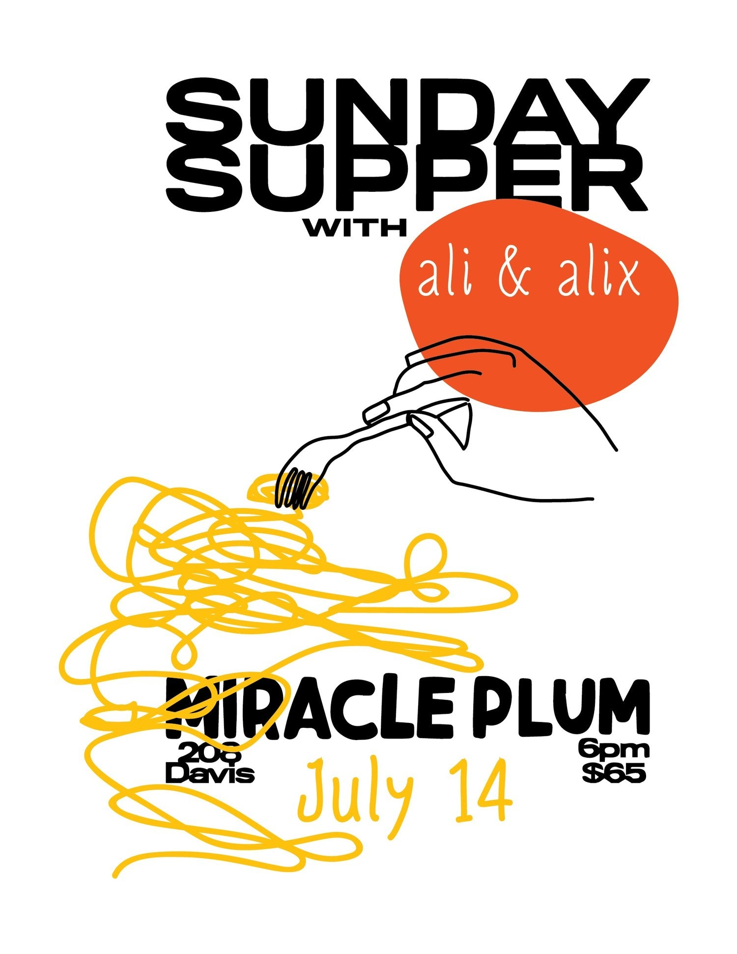 7/14/2019 6:00PM-9:00PM | SUNDAY SUPPER WITH ALI & ALEX: SOLD OUT