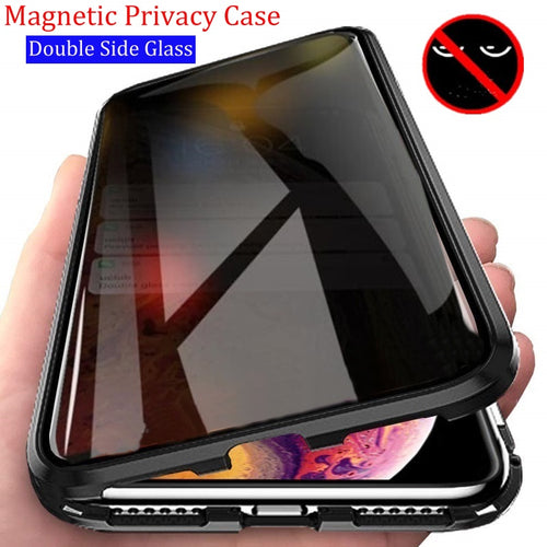 Privacy Metal Magnetic Tempered Glass Phone Case .