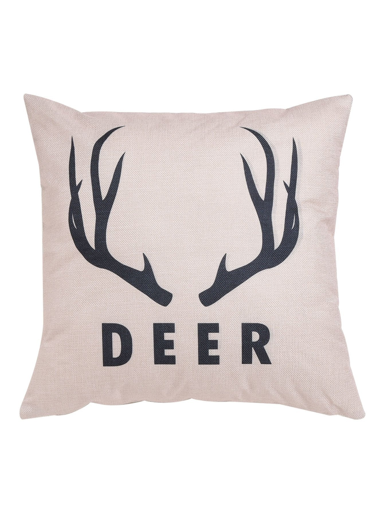 Antlers Print Cushion Cover