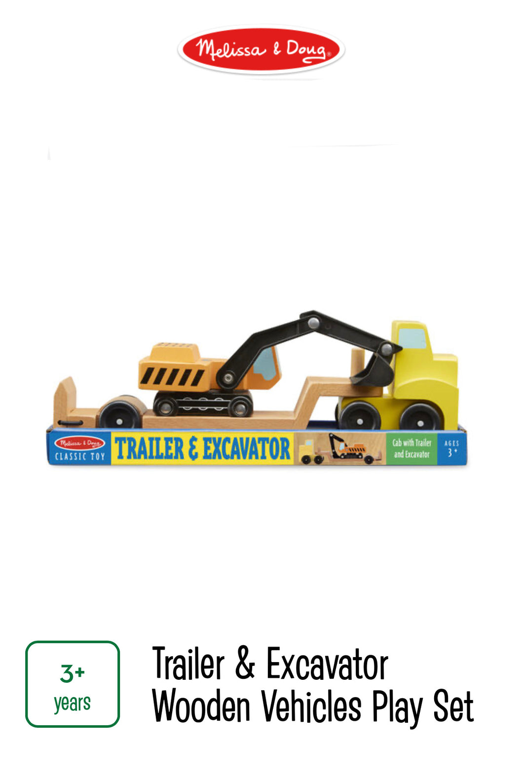 Trailer & Excavator Wooden Vehicle Play Set