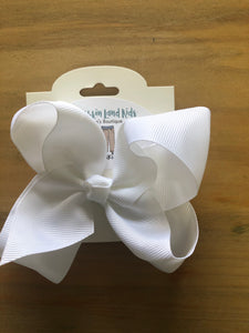 "White 4"" Hair Bow"