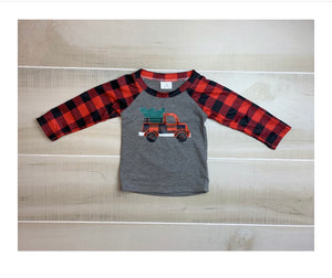 Christmas Truck Buffalo Plaid Tee