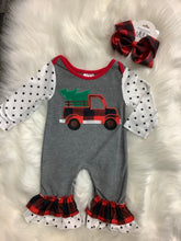 Load image into Gallery viewer, Polka Dot Christmas Truck Romper