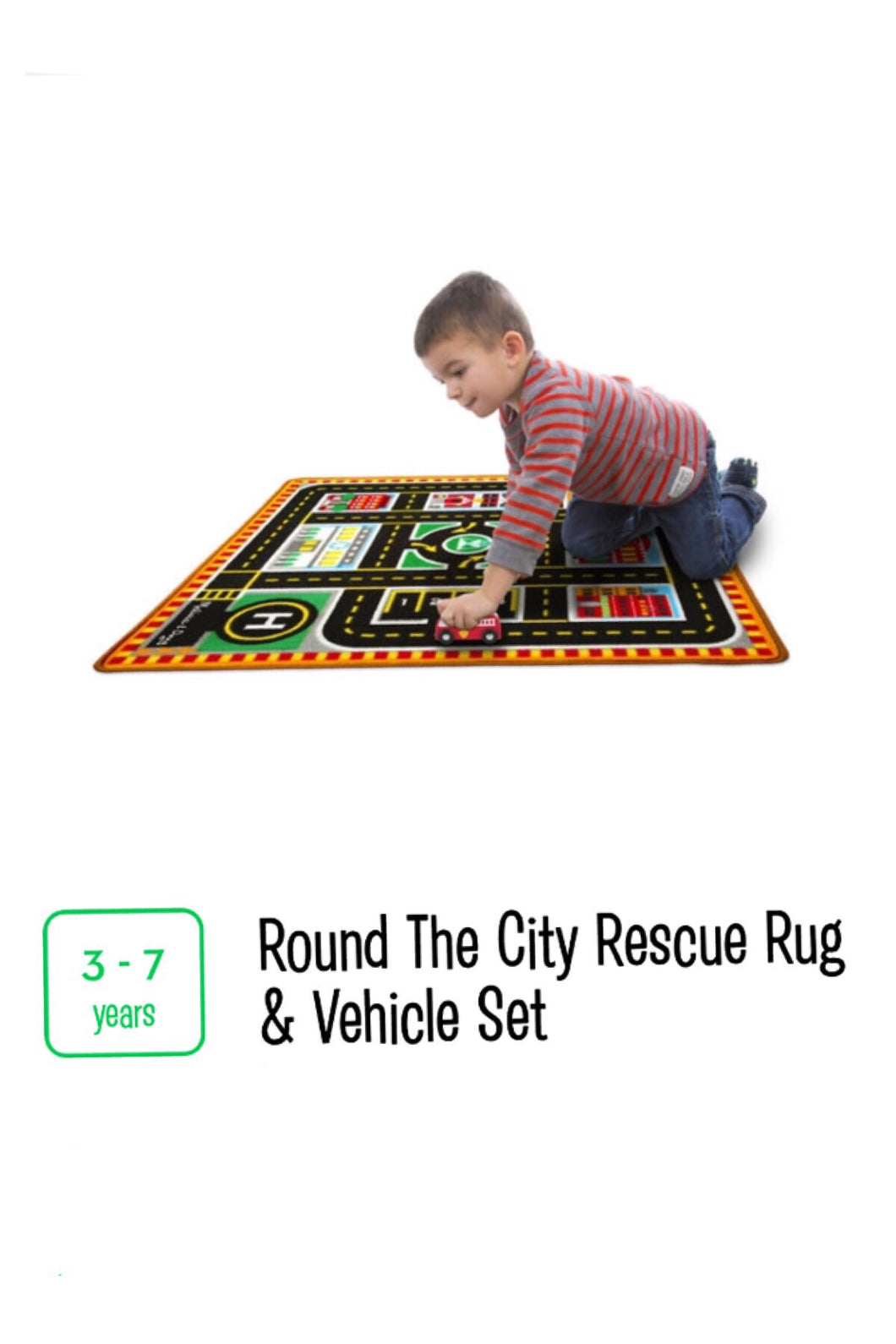 Round the City Rescue Rug and Vehicle Set