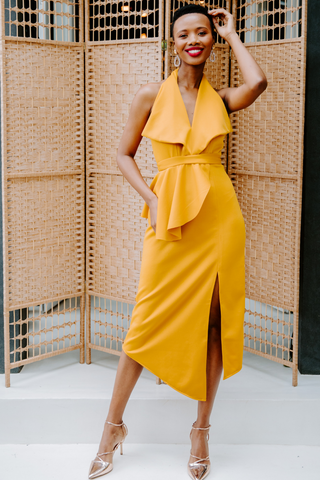 Mustard Ruffle Halter Cocktail Dress
