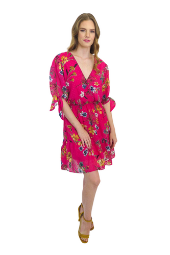 Pink Floral Cross Over Day Dress