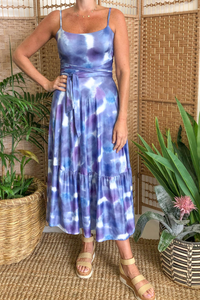 Blue & Purple Tie Dye Knot Back Dress